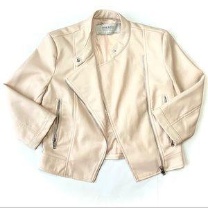 Zara Basics Faux Leather Crop Jacket Cute XS